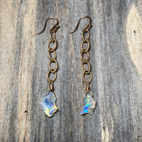 14K GF Hand Carved Opal Earrings