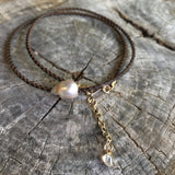 Pearl and Diamond Slice Leather Necklace or Bracelet