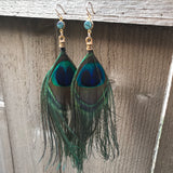 Druzy and Peacock Feather Earrings