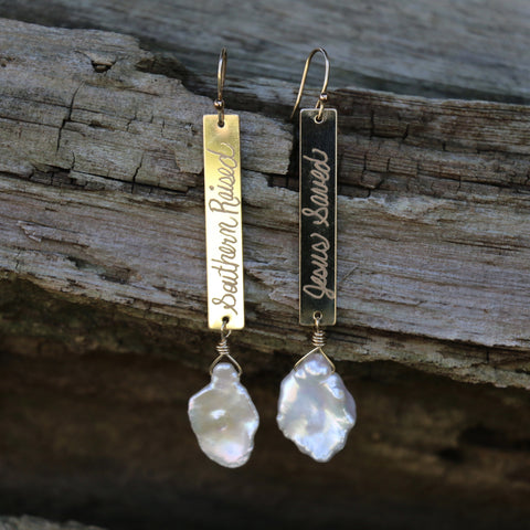 Southern Raised and Jesus Saved Pearl Earrings