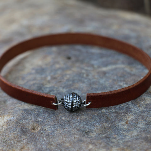 Leather Choker with CZ Magnetic Clasp