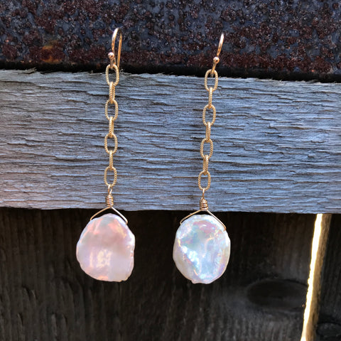 14K GF Keshi Pearl Earrings