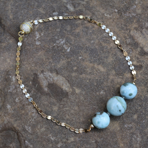 Larimar and Gold Filled Chain Necklace