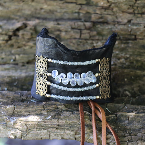 Rainbow Moonstone and Black Spinel Gemstone Leather Cuff