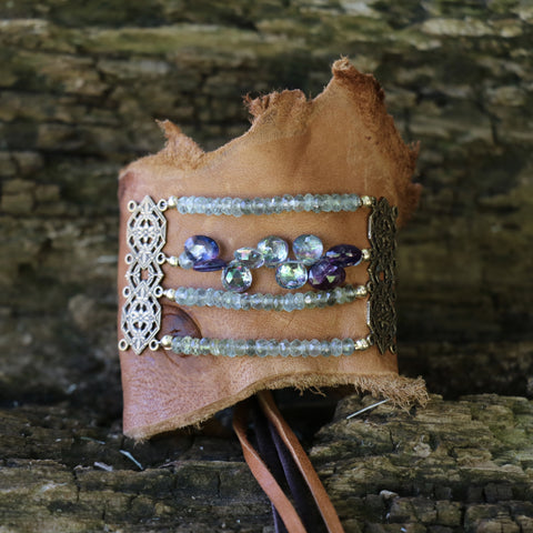 Leather Cuff with Mystic Topaz, Amethyst, & Aquamarine gemstones
