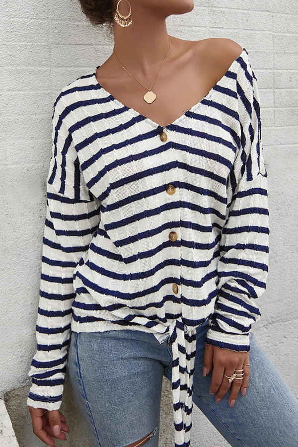 Nautical Stripe Front-Tie Cardigan