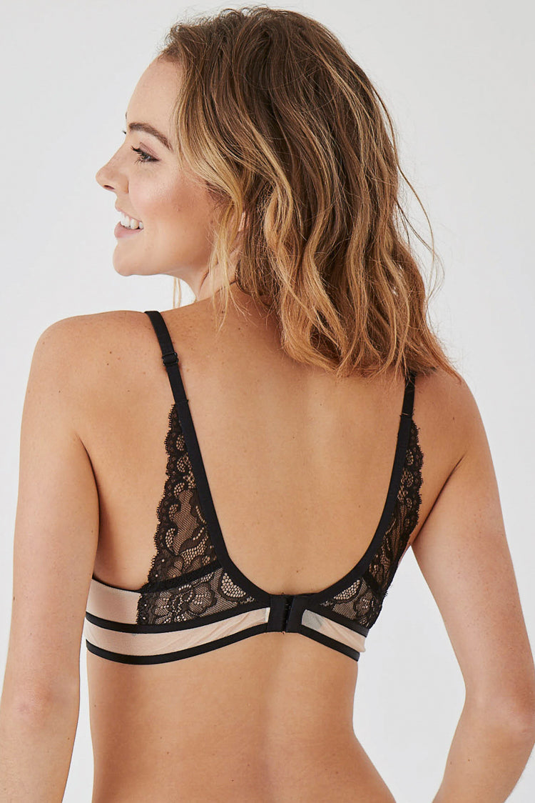 Black And Nude Lace Bralette