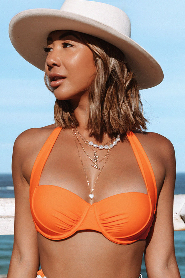 Orange Halter Wide Straps Bikini Top
