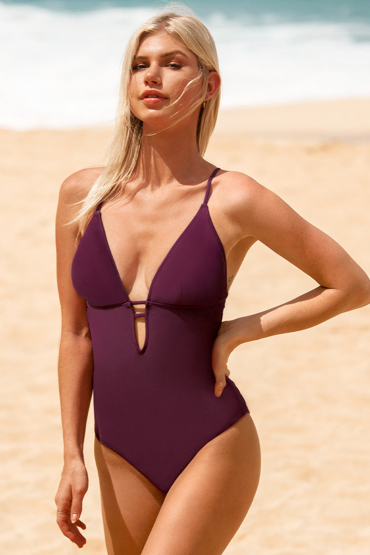 Charming Plum One-piece Swimsuit