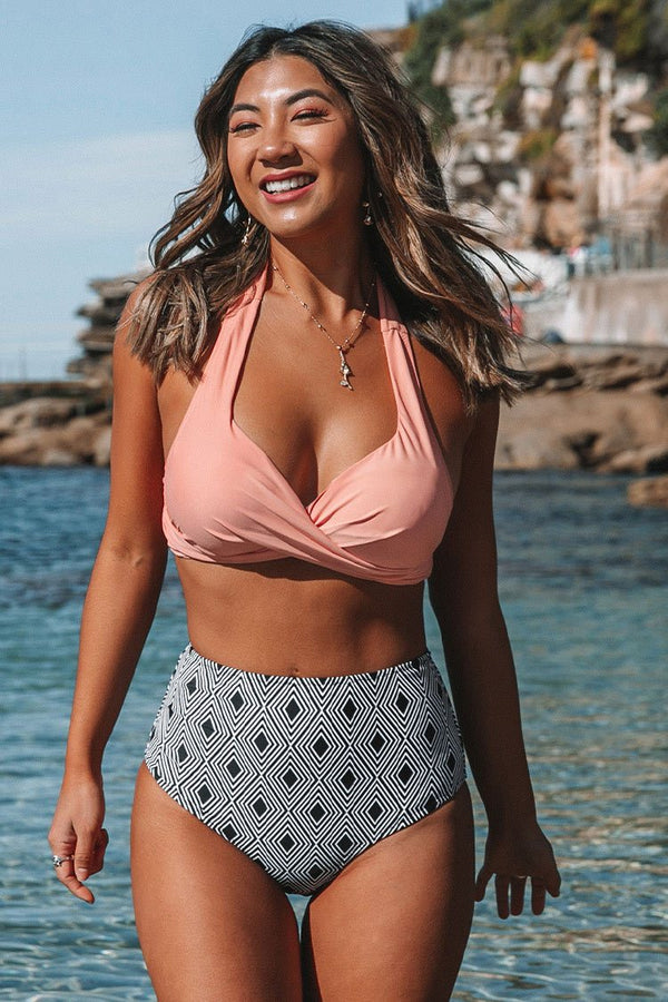 Pink Twisted Halter Bikini With Geometric Print High-Waisted Bottom