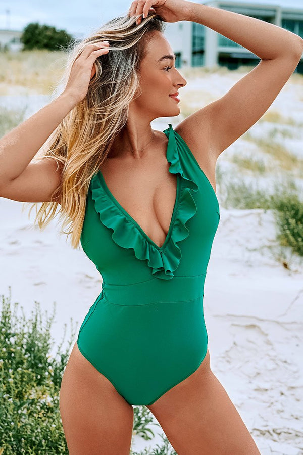 Green Ruffled Plunging Neckline One-Piece Swimsuit