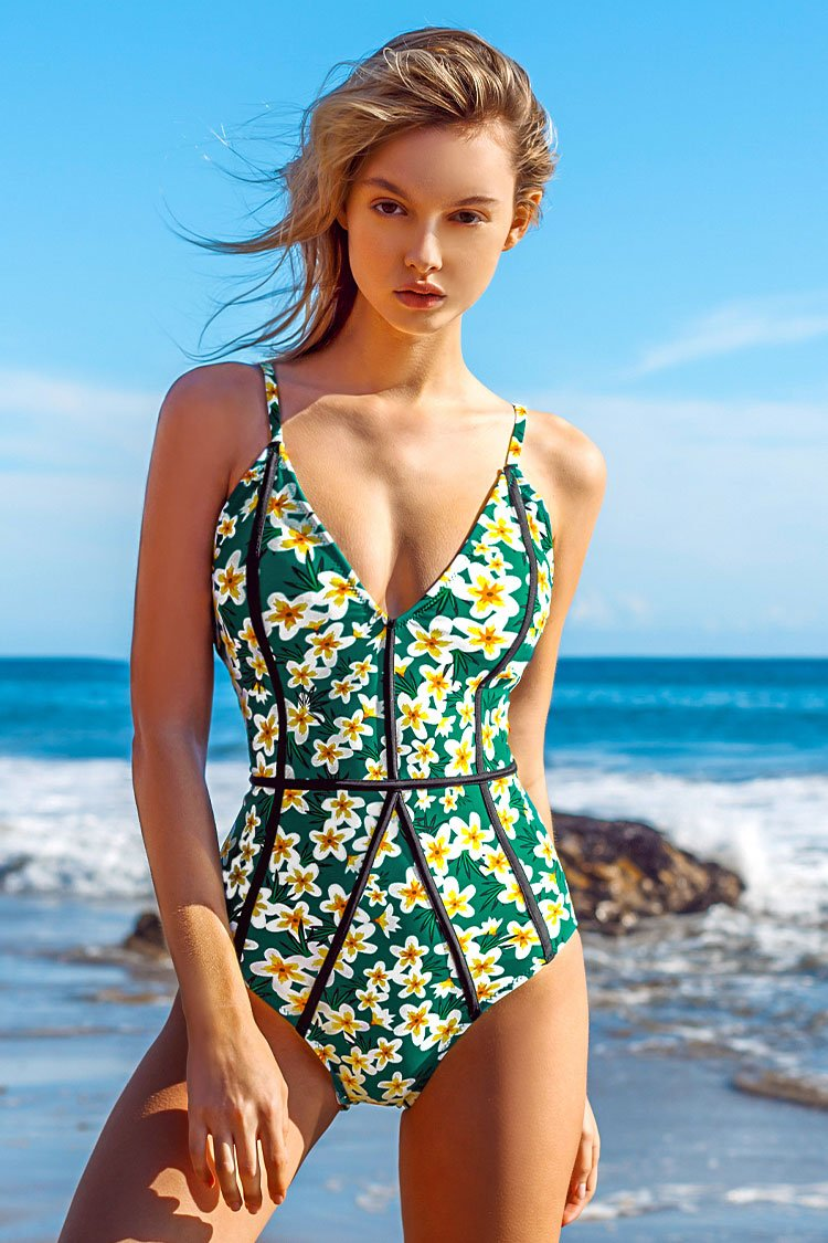 Young And Vigor Print One Piece Swimsuit