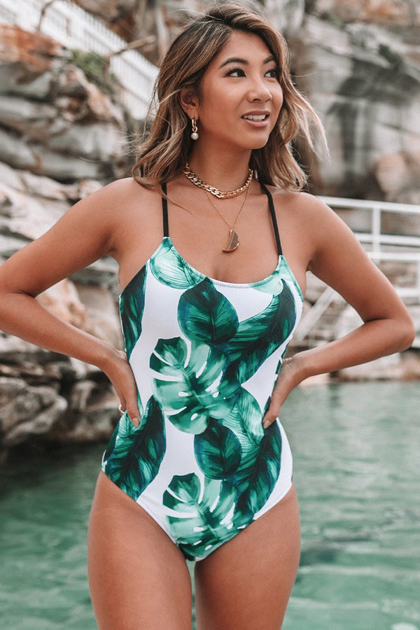 Tropical Leaves Lace-Up One Piece Swimsuit