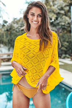 Yellow Knitted Cover Up Top