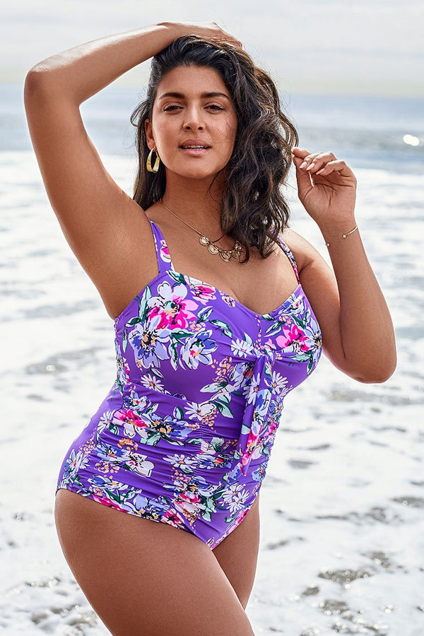 Purple Floral Shirring Plus Size One Piece Swimsuit