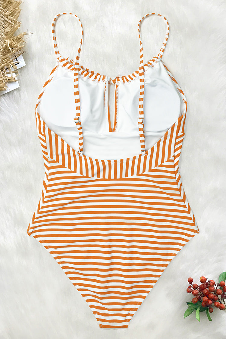 Orange And White Stripe One-piece Swimsuit
