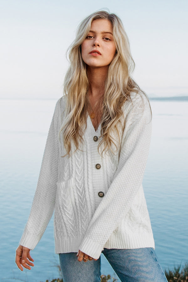 White Buttoned Down Cable Knit Cardigan