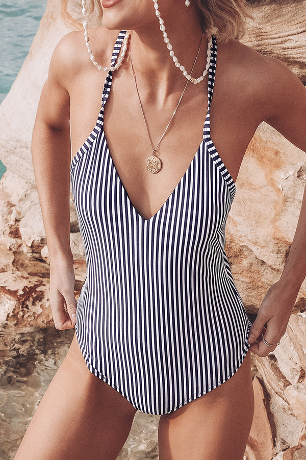 Navy and White Vertical Stripe Print One-Piece Swimsuit