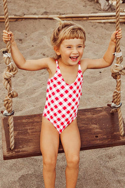 Gingham Bowknot One-Piece Swimsuit For Toddler Girls and Girls