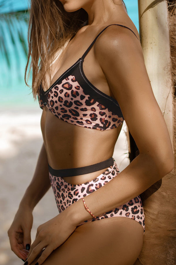 Leopard Print High Waisted Bikini