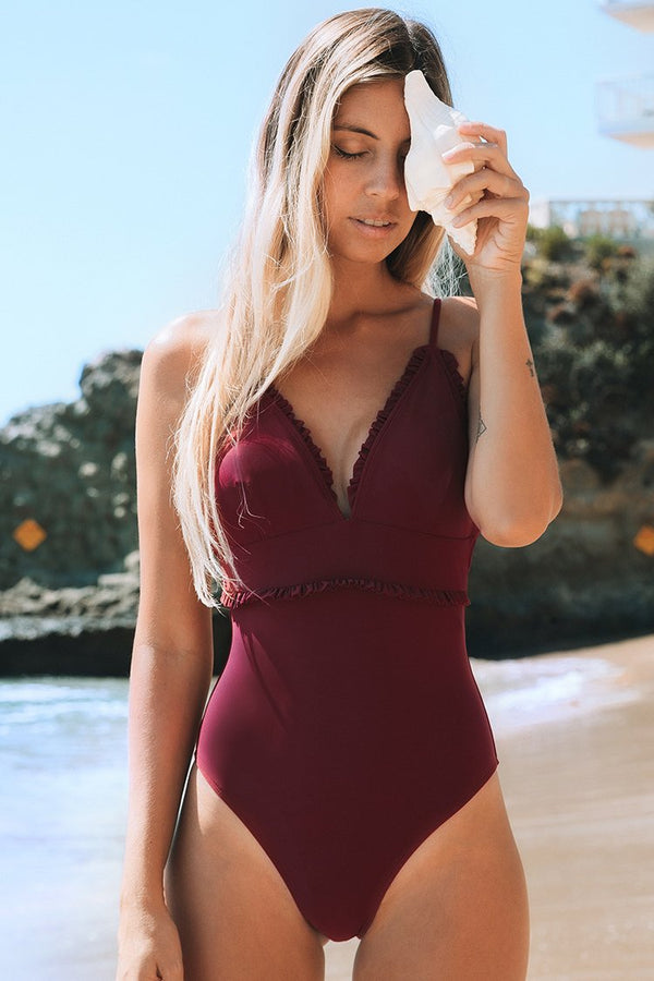 Red Ruffle One-Piece Swimsuit