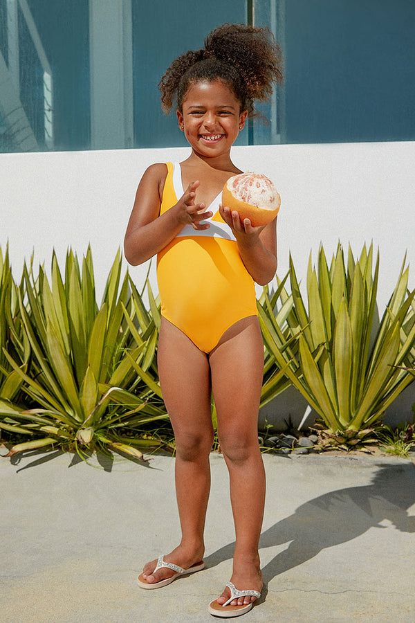 Yellow and White One Piece Swimsuit For Toddler Girls and Girls