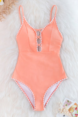 Peachy One-Piece Swimsuit with Crochet Trim