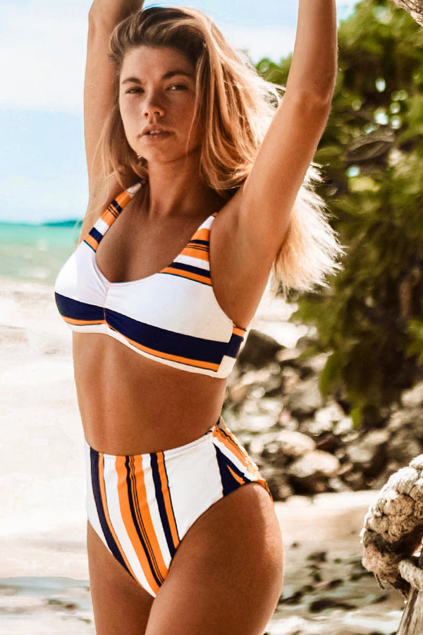 Orange Black and White Stripe High-Waisted Bikini