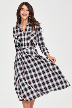 Plaid Buttoned Midi Dress