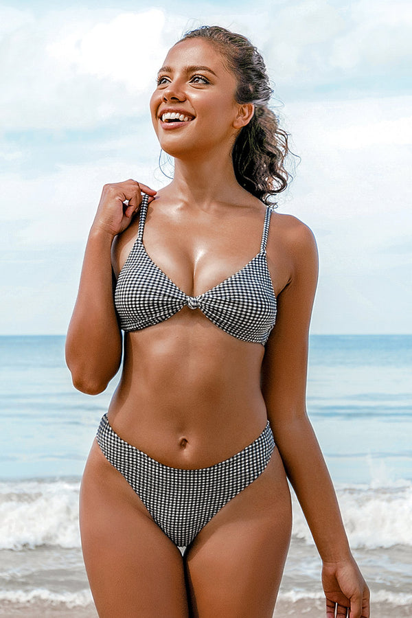 Cute Gingham Knotted Low Rise Bikini