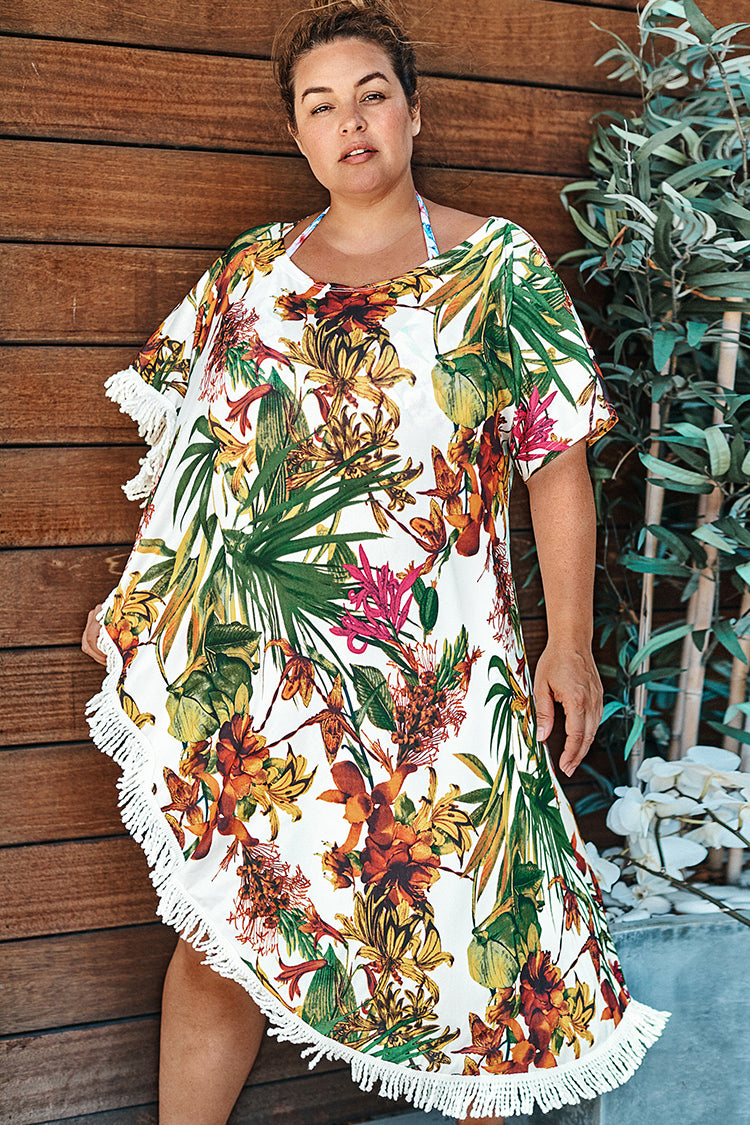 Floral and Leafy Plus Size Cover Up
