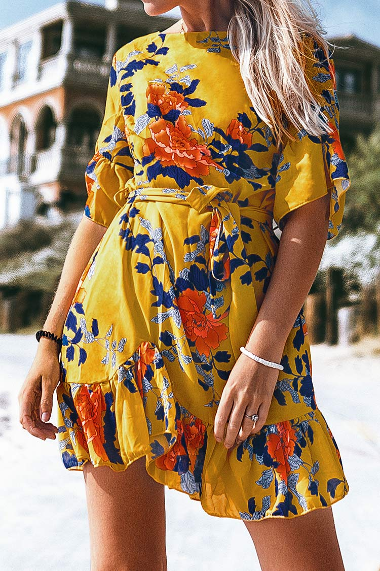 Yellow Floral Print Ruffled Mini Dress