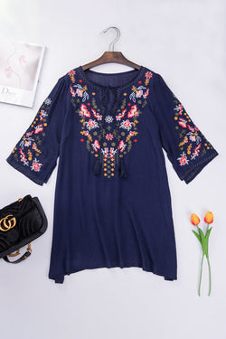 Navy Floral Embroidery Dress