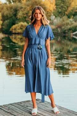 Blue V-Neck Belted Midi Dress