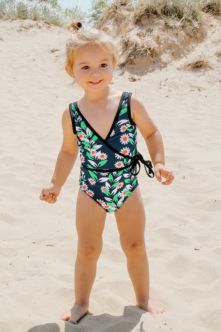 Daisy Print One Piece Swimsuit For Toddler Girls and Girls