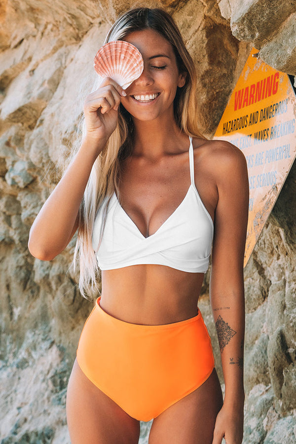 Solid White Bikini with Orange High Waisted Bottom