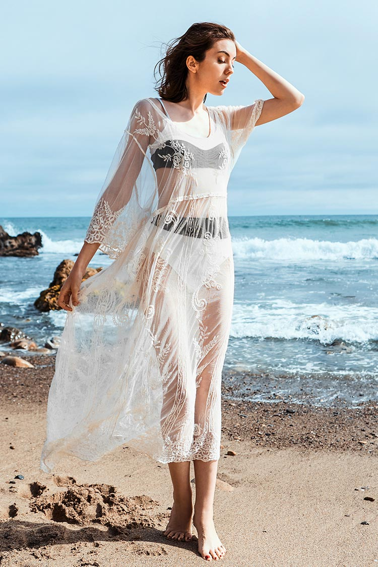 White Lace Sheer Cover Up