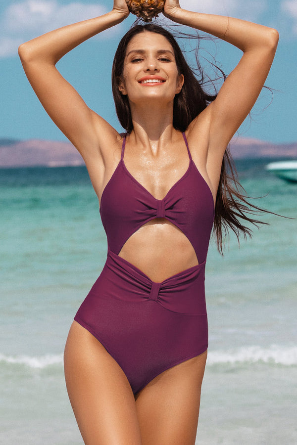 Burgundy Flirty Cutout One-Piece Swimsuit