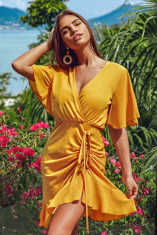 Yellow V-Neck Shirring Dress