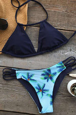 Cupshe The Blue Aegean Sea Halter Bikini Set