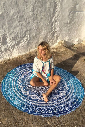 Cupshe Blue Lotus Beach Towel