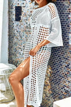 White Knitted Crochet Cover Up Dress