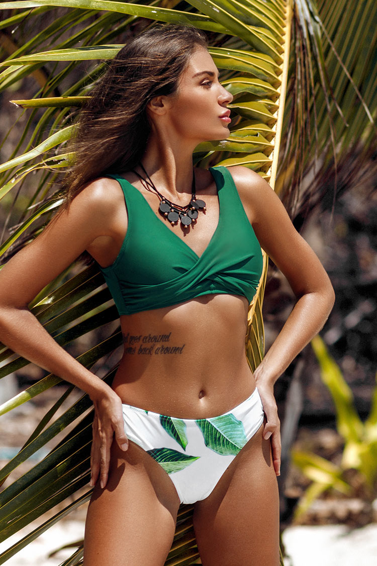Green Solid and Leafy Print Bikini