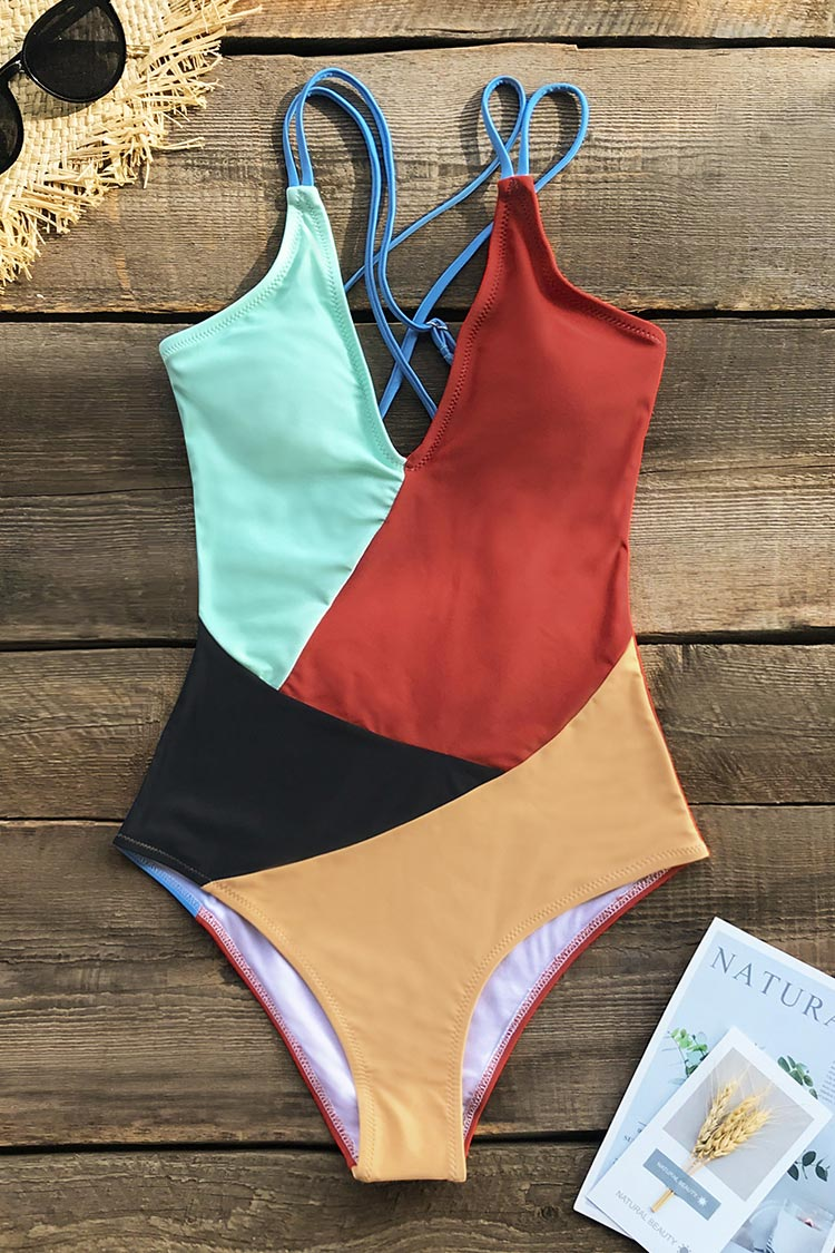 Colorblocked V-Neck One Piece Swimsuit