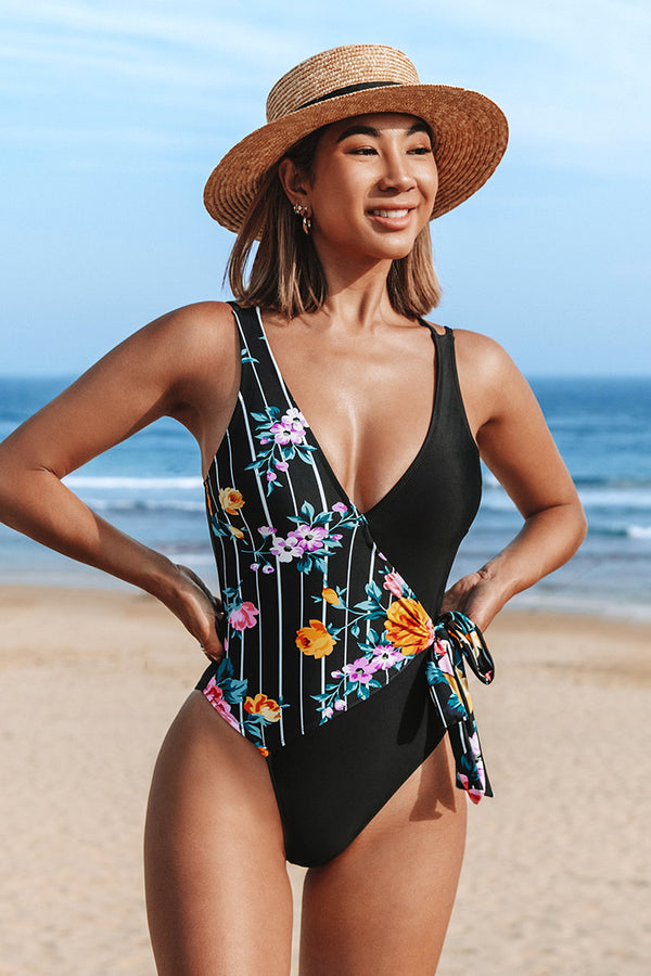 Summer Bliss Striped Floral Wrap One Piece Swimsuit