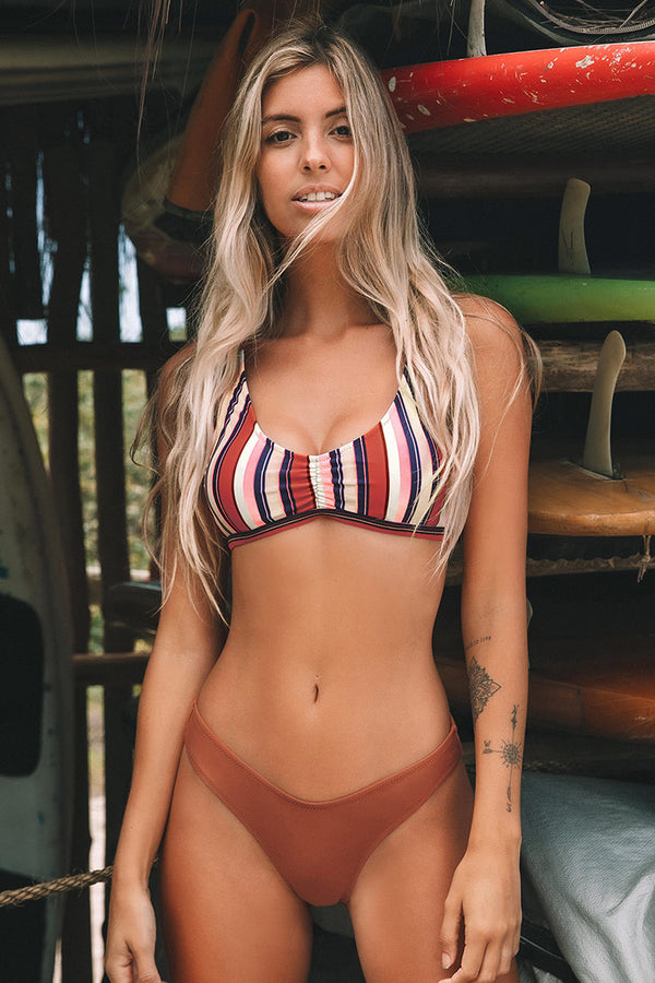 Chic Stripe Shirring Bikini
