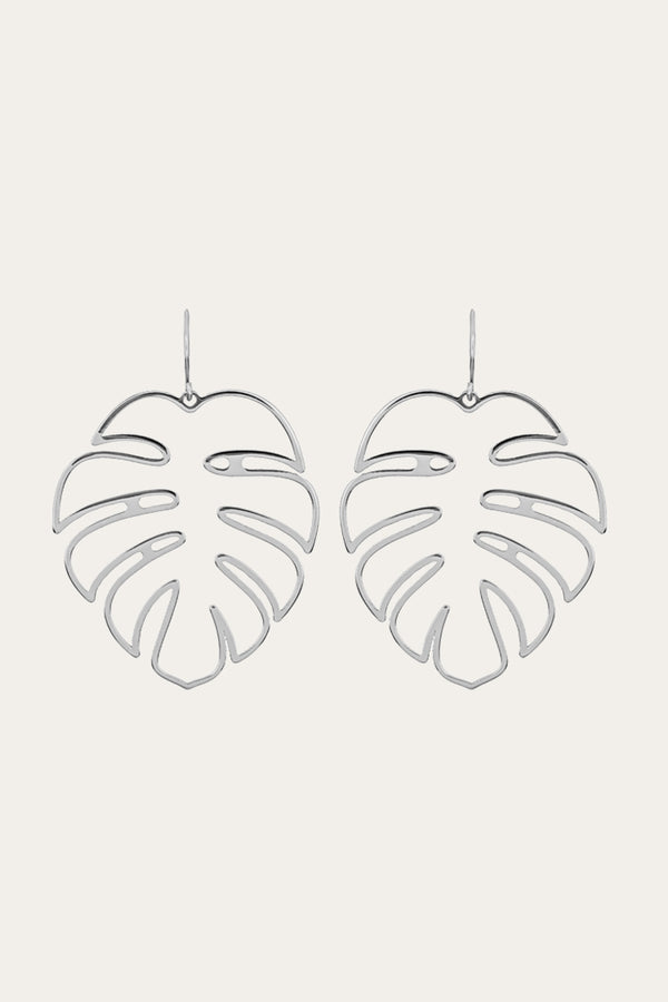Silver Palm Leaf Earrings