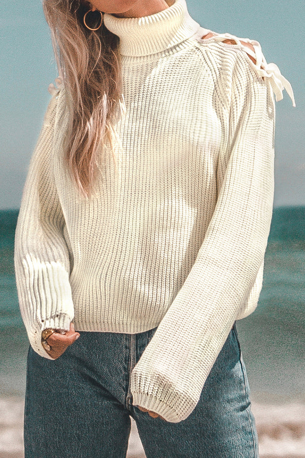 White Lace-Up Turtleneck Sweater