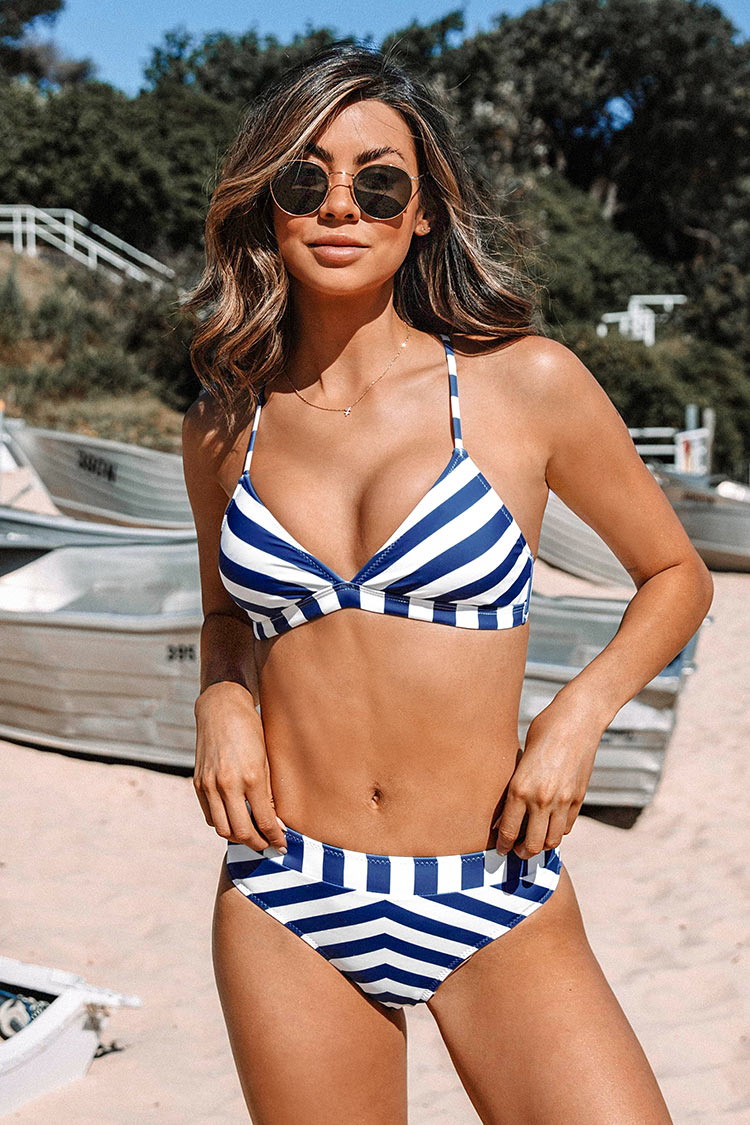 Blue and White Striped Lace Up Bikini