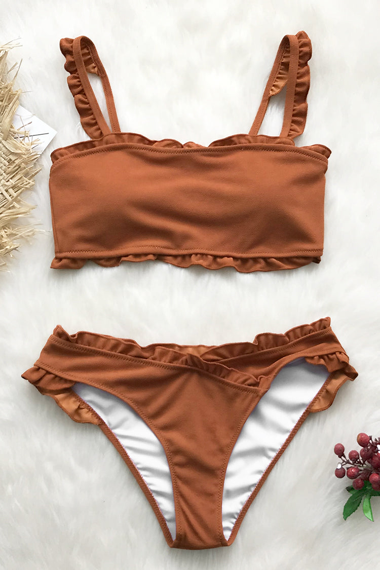 Sweet Caramel Bikini With Ruffles